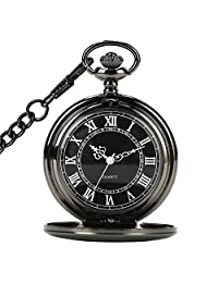 LingsFire Black Pocket Watch Roman Numerals Steampunk Pocket Watch with Cool Chain for Men Women Quartz Pocket Watch Gift