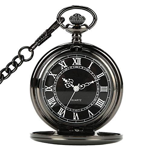 WIOR Black Pocket Watch Roman Pattern Steampunk Retro Vintage Quartz Roman Numerals Pocket Watch (B)