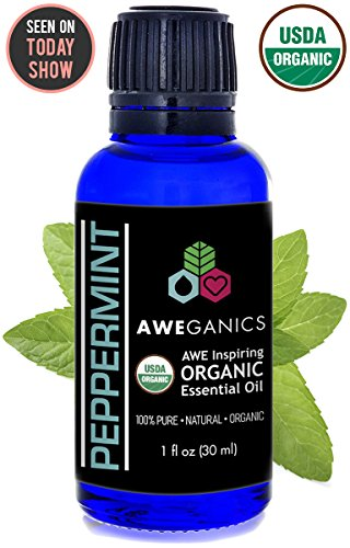 Aweganics Organic Peppermint Essential Oil, USDA Certified Organic, 100% Pure Natural Therapeutic-Grade, Best Aromatherapy Scented-Oils for Diffuser, Home, Personal Use, Relaxation 1 OZ MSRP ()