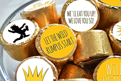 WILD THINGS inspired kiss stickers ~ fits Hersheys Kisses Chocolate /& other Candy stickers only 108 peel/&stick stickers