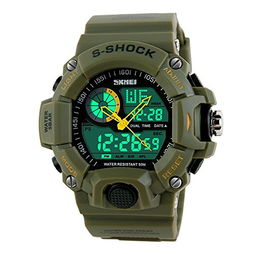 TONSHEN Men's Digital Sport Military Watch Outdoor Multifunctional Electronic LED 50M Water Resistant Back Light Analog Display Alarm Waterproof Stopwatch for Boy Kids Children - Green (Red Line Dual Timer Watch)