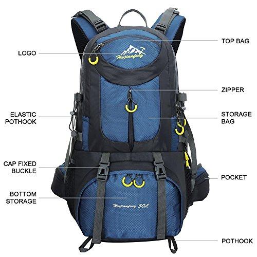Con De Impermeable Deep Verde Al Camping Escalada Aire Deporte Lluvia Senderismo Pack La 50l Mochila Para Libre Viaje Montañismo Cubierta Blue 6Sq11