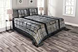 Lunarable Industrial Bedspread Set King Size, Old Large Window with Broken Panes Deserted Hall Forest Trees Winter, Decorative Quilted 3 Piece Coverlet Set with 2 Pillow Shams, Grey White Army Green