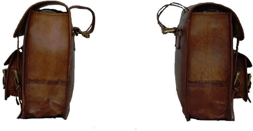 LBH ganpati handicraft Motorcycle Side Pouch Brown Leather Side Pouch Saddlebags Saddle Panniers 2Bag with Free Bike Key Chain