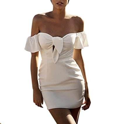 54ba979cb97194 Image Unavailable. Image not available for. Color: Euone Dress Clearance,  Women Summer Off Shoulder ...