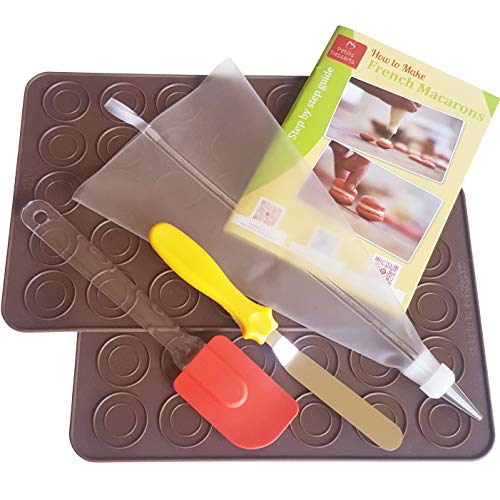 Macaron Baking Kit by Petits Desserts | French Macaroon Making All In One Set - Kit With 2 Silicone Mats Piping Bag Silicon Spatula and Angled Icing Spatula | Free Step By Step Guide - Easy Learning