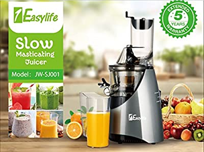 "1Easylife Slow Masticating Juicer, 3"" Wide Chute Cold Press Juicer Machine with Quiet 260W AC Motor and Reverse Function, 48RPMs Low speed juicer Extractor for Fruit and Vegetable Juice"