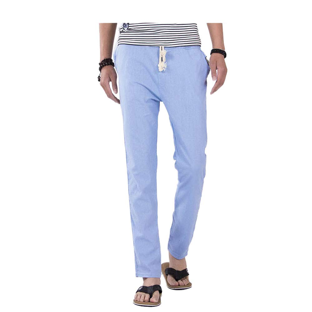 Deofean Mens Casual Drawstring Straight Fit Beach Linen Pants