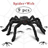 I-Tech More Halloween Decorations Realistic Spider Decor Realistic Hairy Spiders, Giant Spider Web for Halloween Decor Props, Outdoor & Yard (Spider Web)