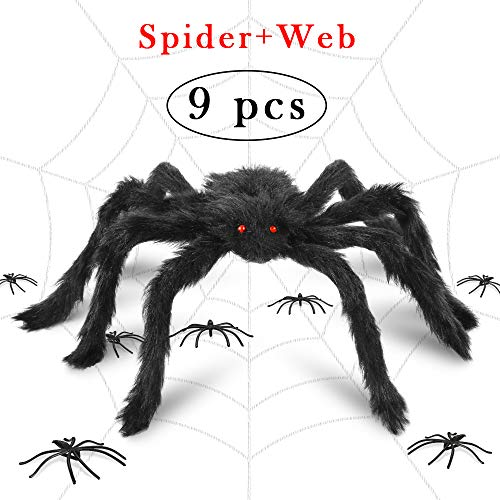 I-Tech More Halloween Decorations Realistic Spider Decor Realistic Hairy Spiders, Giant Spider Web for Halloween Decor Props, Outdoor & Yard (Spider -