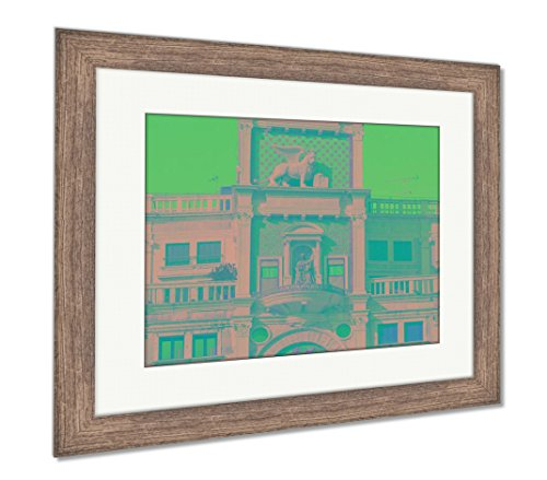 Ashley Framed Prints Clock Tower San Marcos Square Venice Italy, Wall Art Home Decoration, Color, 30x35 (Frame Size), Rustic Barn Wood Frame, - San Square Venice Italy Marco
