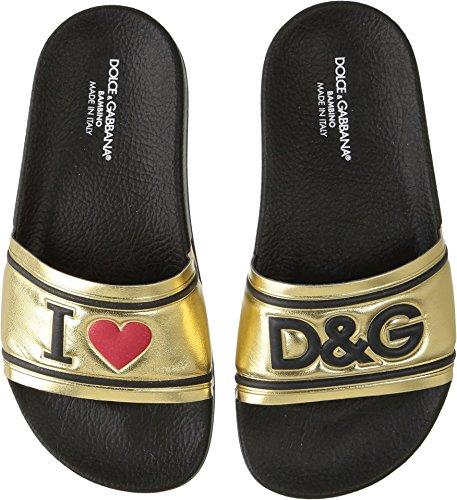 Dolce & Gabbana Kids Girl's Gold Slide (Little Kid/Big Kid) Gold 32 M - Gold Shoes Dolce Gabbana