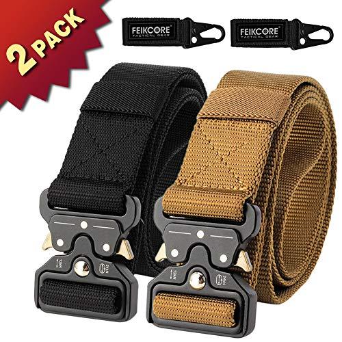 FEIKCOR 2 PCS Tactical Belt Unisex Nylon Heavy Duty Waist Belt Adjustable Military Style Web Belt with Metal Buckle (Black + Brown)