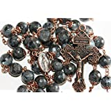 Large Larvakite and Copper 10mm 5 Decade Natural Stone Bead Rosary Made in Oklahoma