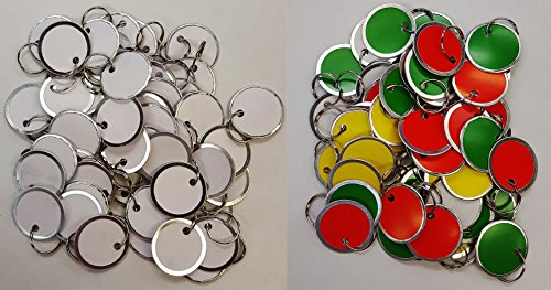 Amram Key Tags with Split Ring, 1 1/4'', Bonus KIT 100 Pcs- 50 pcs Assorted, 50 Pcs White. by AMRAM