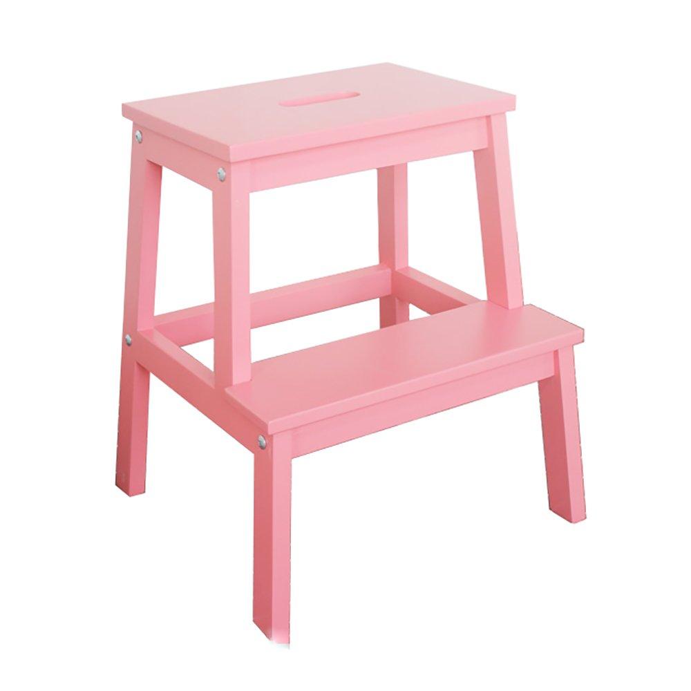 ソリッドウッドステップスツール大人ステッピングスツール子供用ラダーシューズベンチ変更 (色 : Pink) B07FP8G2R3 Pink Pink