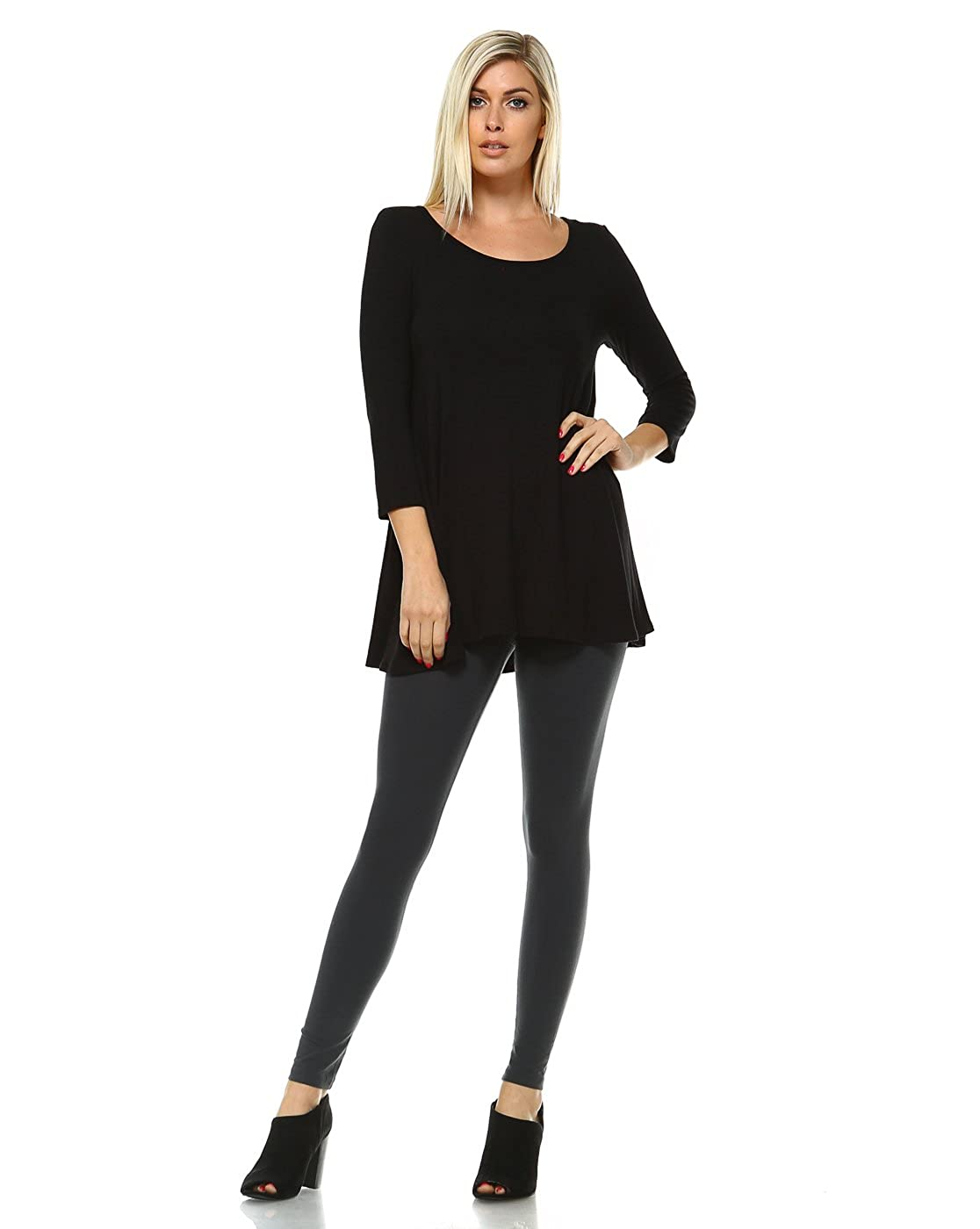 3572b359e6 Tunic Tops For Leggings For Women 3 4 Sleeve Shirts For Women Long Made In  USA Plus Size 3X Black at Amazon Women s Clothing store