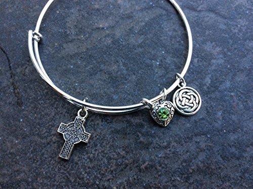 Celtic Cross Adjustable Bangle Bracelet with Green Rhinestone Heart and Celtic Knot Charms (Charm Celtic Womens)