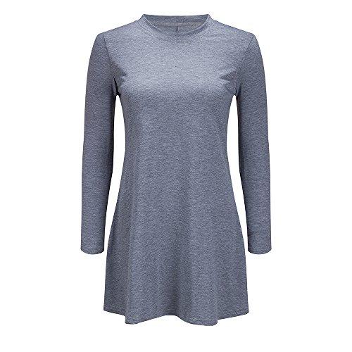 Couleur Pure Coton À Manches Longues De Base Col Rond Blouse Ample Mini Robe Tee Shirt Casual Gris Féminin Bewish
