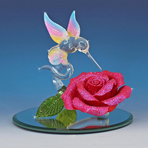 Handmade Blown Glass Hummingbird on a Red Rose - Sweet Attraction -