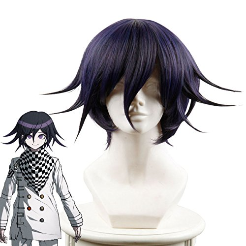 Cfalaicos 14.9'' Short Black Purple Cosplay Wig with Free Wig Cap (Need Style by Yourself) -