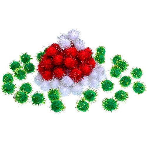 Shappy 100 Pieces Christmas Pom Poms Glitter Pom Decor for Arts Crafts DIY, Green, White and Red (25 mm)