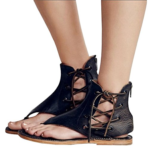 Ymost Women's Summer Casual Open Toe Lace Up Flat Sandals Gladiator Thong Flip Flop Sandal (Women Thong Pu Sandals)