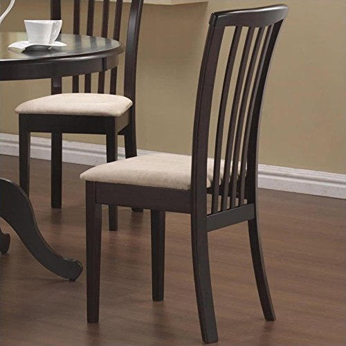 Slat Back Chair (Coaster Home Furnishings Casual Dining Chair,  Cappuccino/Beige)
