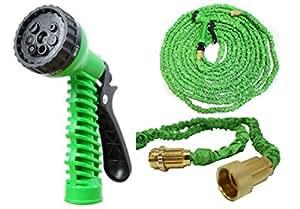 htuk Magic manguera extensible 50ft 75pies 100FT Manguera con Heavy Duty latón y pistola de spray no Kink Manguera de jardín, Verde, 22,86 m