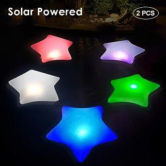Inflables Estrella Luz Piscina Flotante, Lámparas Solares IP68 Impermeable Luz Solar Jardin con Cambio Automático de Color, Luces Nocturnas Colgables Luces Seguridad para Decoración Interior/Exterior: Amazon.es: Iluminación