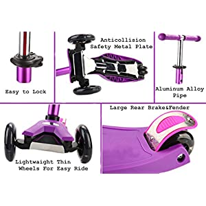 Kids Scooter Deluxe - Scooter for Kids age 3-9 - Adjustable Kick Scooter - Scooters for girls Purple - 3 Wheel Balance Scooter - ABEC-7 - Kickboard scooter with Flashing Wheels
