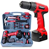 Hi-Spec 26pc Household Cordless Power Drill Tool Kit 9.6V Drill Driver with 1200 mAh Ni-MH Rechargeable Battery, 16 Position Keyless Torque Clutch and Variable Speed Switch