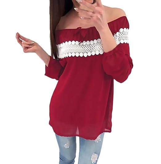 Blusas De Mujer Primavera Elegante Manga Larga Barco Cuello Chiffon Top Sin Tirantes Backless Anchos Ropa