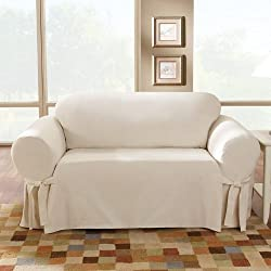 Sure Fit Cotton Duck - Sofa Slipcover - Natural (SF26808), 34 x 72 x 40 inches