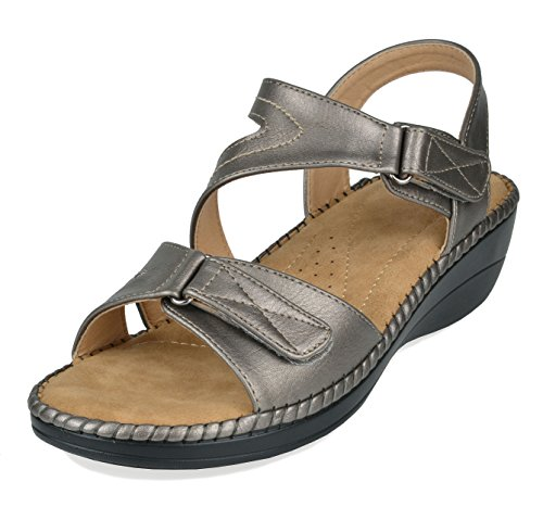 (DREAM PAIRS Women's Truesoft_06 Pewter Low Platform Wedges Slingback Comfort Sandals 9 B(M) US)