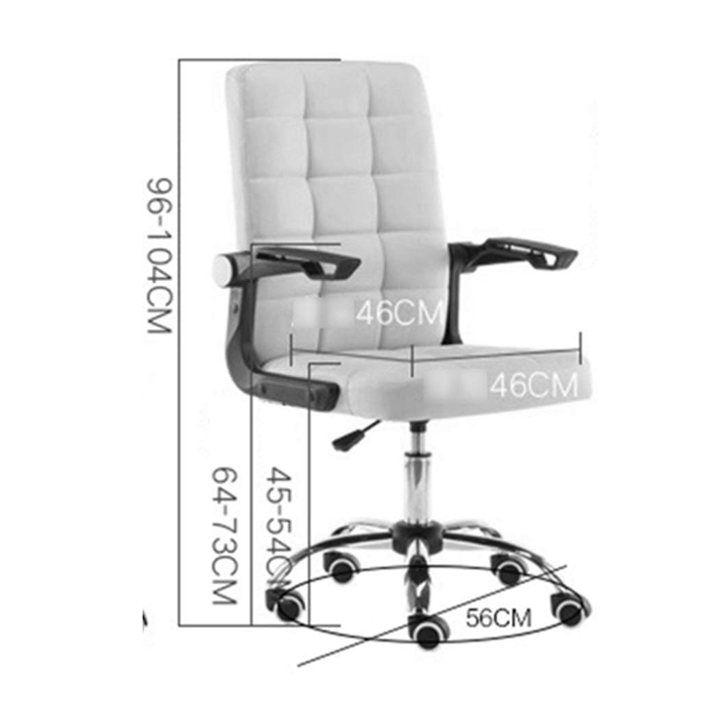 ZZHZY BBGS PU-läder kontor svängbar stol, datorsäte ergonomisk chef stol fem-stjärna fot lyft student sovsal svängbar stol, med vikbart armstöd (färg: A) b