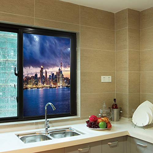 YOLIYANA Frosted Window Film,City,for Shop Restaurant Home,Auckland The Biggest City in New Zealand Waterfront,24''x36''