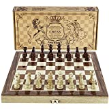 """Amerous Chess Set, 12""""x12"""" Folding Wooden Standard Travel International Chess Game Board Set with Magnetic Crafted Pieces"""