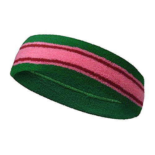 Striped Terry Headband - COUVER Terry Striped Basketball Headband Sweatband (1 Piece) Green/Pink/Red