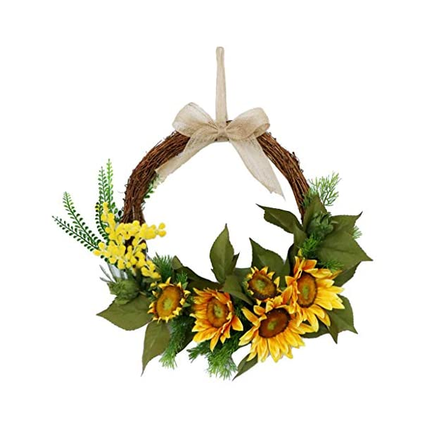 LOVIVER 15″ Artificial Sunflower Wreath Flower Wreath with Yellow Sunflower and Green Leaves for Front Door Indoor or Outdoor Wall Wedding Home Decoration