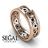 Anniversary ring 14K Red Gold Vintage Elegant Art Deco Black Diamond - Leanna