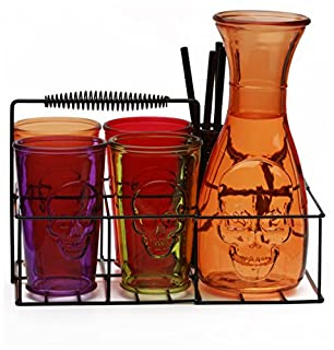 Circleware 76989 Skullology Drinking Glasses and Pitcher Set of 10, 38 oz Orange Carafe, 4-16 oz Assorted Color Tumbler Cups, 4 Straws and Holder, Halloween Decorations Beverage (B01MUH8HAD) | Amazon price tracker / tracking, Amazon price history charts, Amazon price watches, Amazon price drop alerts