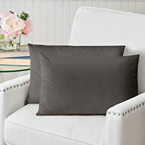 The Connecticut Home Company Velvet Throw Pillow Cases, Set of 2, Decorative Case Sets, Many Colors, Pillow Covers, Luxury Soft Pillowcases for Living Room, Bedroom, Couch, Sofa, Bed, 12x20, Charcoal