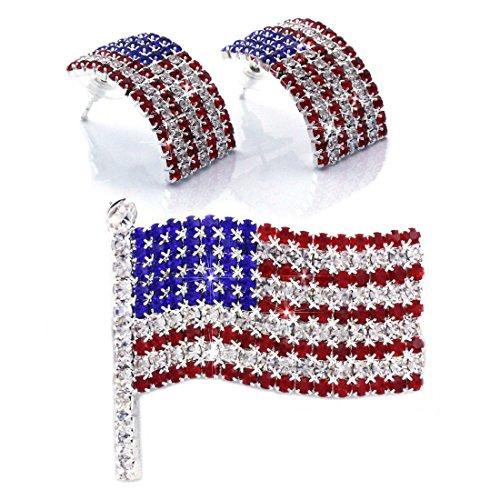 - cocojewelry USA American Flag Patriotic Red Blue Stud Earrings Brooch Pin Set (Silver-tone Set)