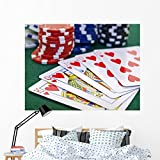 Wallmonkeys Poker Game Set Chips Wall Mural Peel and Stick Graphic (60 in W x 45 in H) WM191550