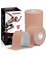 """Kinesiology Tape(3 Rolls pack), Elastic Therapeutic Sports Tape Pro for Shoulder Knee Elbow Ankle, Waterproof, Breathable, Latex free, 2"""" x 19.7 feet Per Roll"""