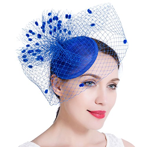 Free Yoka Sinamay Feather Fascinators Womens Pillbox Flower Derby Hat for Cocktail Ball Wedding Church Tea Party (Sapphire Blue)