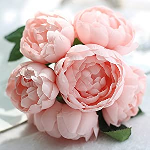 6 Heads Artificial Peony Silk Flower Bouquet Bride Bridesmaid Bouquet Flowers for Home Living Room Hotel Office Wedding Party Garden Decoration Mother's Day Valentine's Day Holiday Gift 5