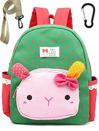 Toddler Backpack Cotton Cat Preschool with Harness Leash for Neutral (Green) by Lakeausy