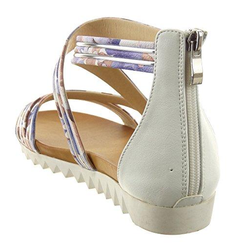 Sopily - Chaussure Mode Sandale Ouverte Plateforme hauteur cheville femmes multi-bride fleurs Métallique Talon compensé 2 CM - Blanc